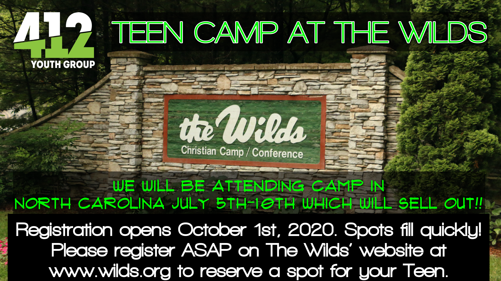 Teen Camp Registration Opening